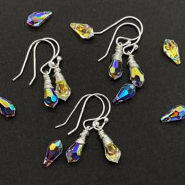 Zilveren oorbellen met swarovski kristal