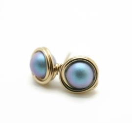Goldfill oorknopjes met swarovski parel, Crystal Iridescent Light Blue