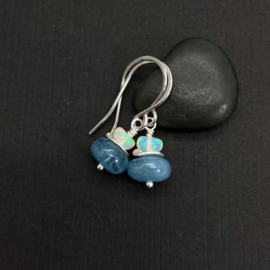 Zilveren oorbellen met Aquamarijn en Opaal