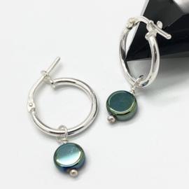 Zilveren creooltjes met hematiet groen/blauw