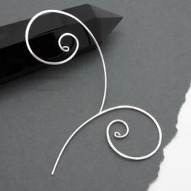 Zilveren comma, apostrof oorbellen