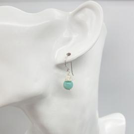 Zilveren oorbellen met Amazoniet en Rozenkwarts