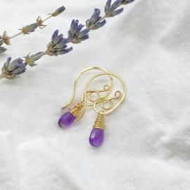 Gold fill oorbellen met Amethist