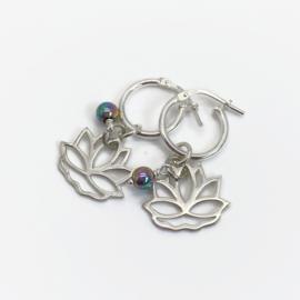 Lotus oorbellen, sterling zilver