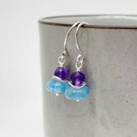 Zilveren oorbellen met Aquamarijn en Amethist