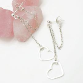 Double chain oorbel met hartje, echt zilver