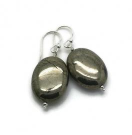Zilveren oorbellen met pyriet