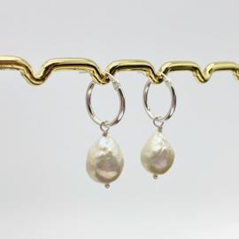 Echt sterling zilveren creolen met barok parels