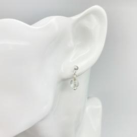 Bergkristal oorknopjes, echt zilver