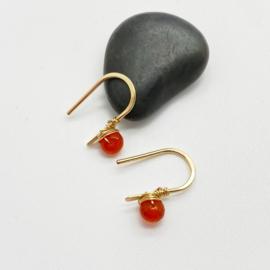14k goldfill oorbellen met Carneool