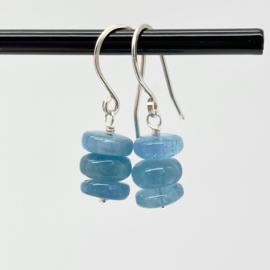 Zilveren oorbellen met Aquamarijn