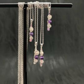 Gouden driehoek ketting, amethist, rozenkwarts, bergkristal