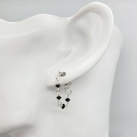 Zilveren ketting oorbel met Onyx