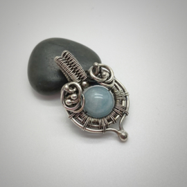 Zilveren Aquamarijn hanger