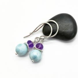 Zilveren oorbellen met Larimar en Amethist