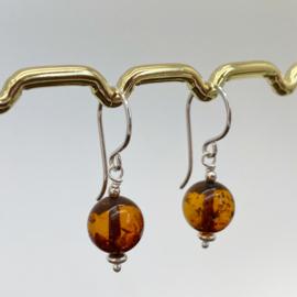 Zilveren Barnsteen oorbellen