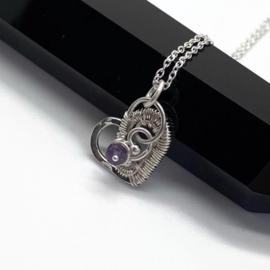 Zilveren hart collier met amethist
