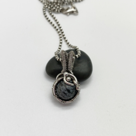 Zilveren Sneeuwvlok Obsidiaan hanger