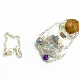 Zilveren kettingring met zoetwaterparel