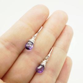Zilveren oorbellen met amethist