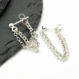 Echt zilver double chain oorbel