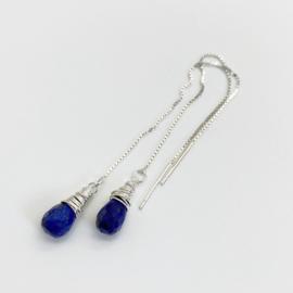Zilveren Lapis Lazuli doortrek oorbellen