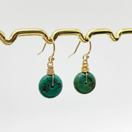 14k gold filled oorbellen met Turkoois