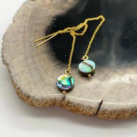 Gold fill doortrek oorbellen met abalone schelp