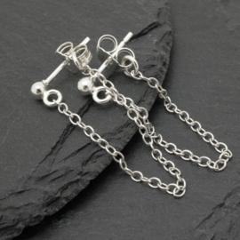 Chain oorbel, echt zilver