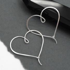 Hart creooltjes - zilveren oorbellen