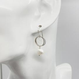 Twisted parel oorbellen, sterling zilver