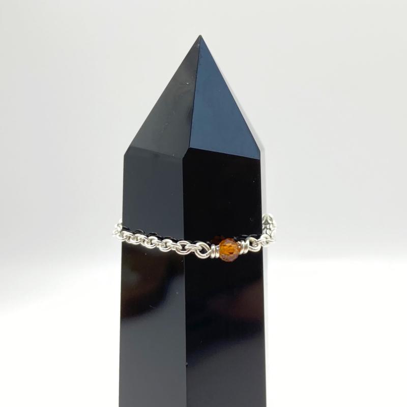 Sterling zilveren ring met spessartien granaat