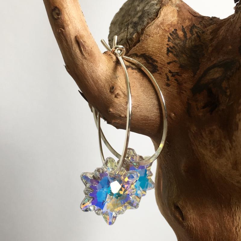 Swarovski bloem oorbellen
