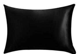 Kussensloop satijn zwart