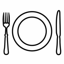 Eten / maaltijd | zwart-wit 4x4 cm