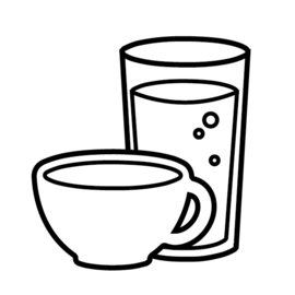 Drinken (koffie, thee, limonade) | zwart-wit 4x4 cm