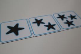 Magneten met 1, 2 en 3 sterren 5x5 cm