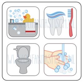 Bad, tandenpoetsen, wc, handen wassen