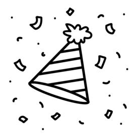 Feest / verjaardag | zwart-wit 4x4 cm