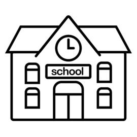 School | zwart-wit 4x4 cm