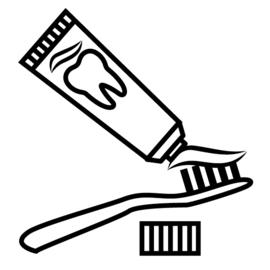 Tandenpoetsen | zwart-wit 4x4 cm