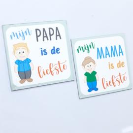 Magneet voor mama of papa (7 x7 cm)
