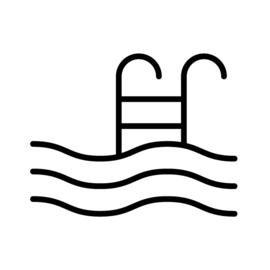 Zwemmen / zwembad | zwart-wit 4x4 cm