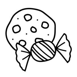 Koekje / snoepje | zwart-wit 4x4 cm