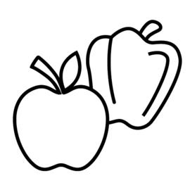 Fruit en groente | zwart-wit 4x4 cm