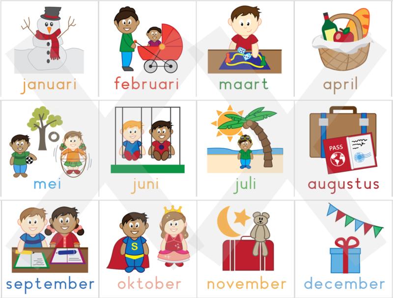 De maanden van het jaar  4 x 4 cm