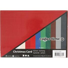 Karton in Kerst kleuren - A4 - 180 gr - 30 vellen
