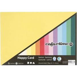 Karton in Lente kleuren - A4 - 180 gr - 30 vellen