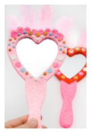 Knutselpakket Kinderfeestje - 6 x Handspiegel versieren met Glitter Foam Clay