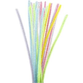 Chenilledraad Pastelkleuren - 6 mm - lengte 30 cm - 24 st